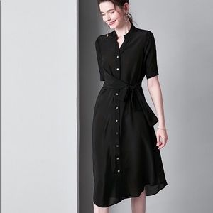 Women's black long wide bottom white dots dress